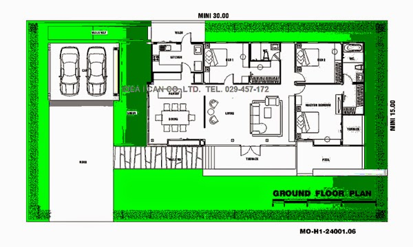 Single story house plans modern style living area 240 sq for Modern thai house design