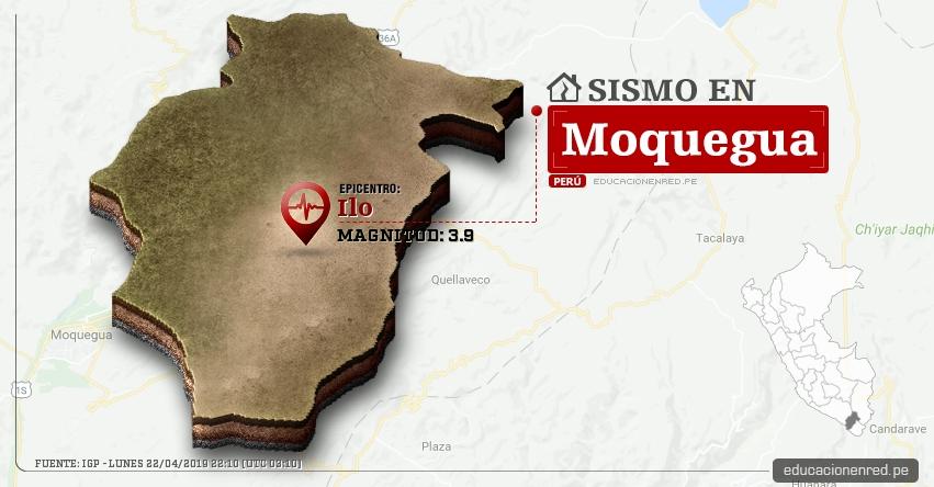 Temblor en Moquegua de Magnitud 3.9 (Hoy Lunes 22 Abril 2019) Sismo Epicentro Ilo - IGP - www.igp.gob.pe