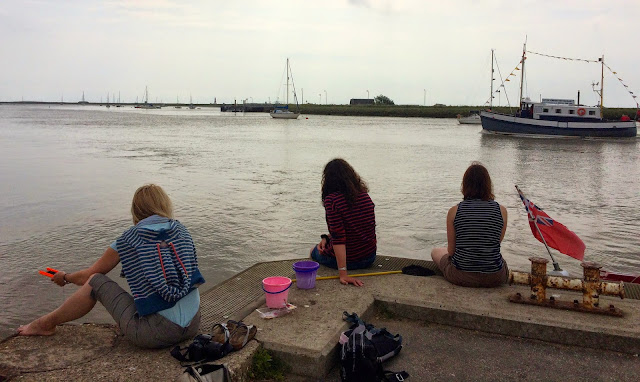 3 women on Quay at Orford in Suffolk