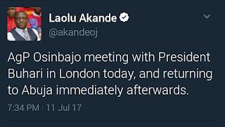 laolu akande, osinbajo off to london