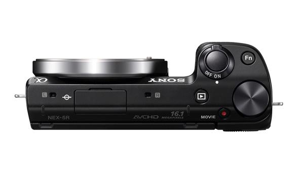 La Sony NEX 5R fotografata dall'alto