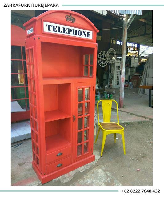 LEMARI RAK BUKU KAYU TELEPON LONDON / LEMARI TELEPHONE