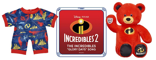 Build-A-Bear Incredibles pajamas, glory days sound and red bear