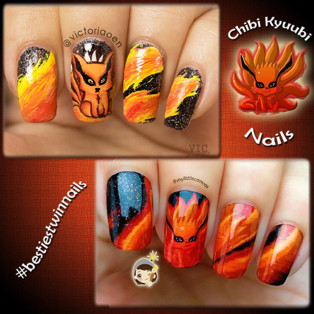 mylittlecanvas inspired nail chibi kyuubi