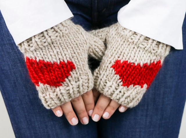 patrón guantes tejidos a mano