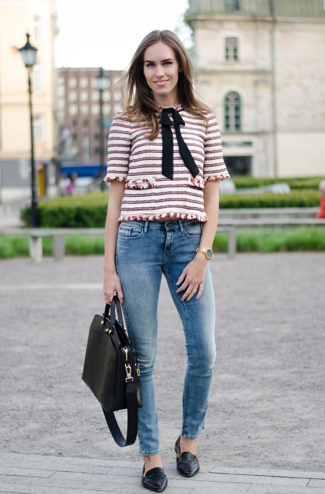 kristjaana mere zara top calvin klein jeans spring outfit fashion