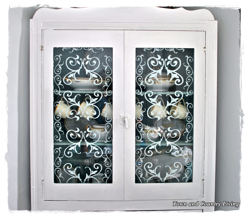 Stenciled Glass Cabinet Doors