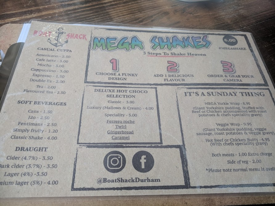 Mega Milkshakes at The Boat Shack, Derwent Reservoir  - drinks and sunday menu