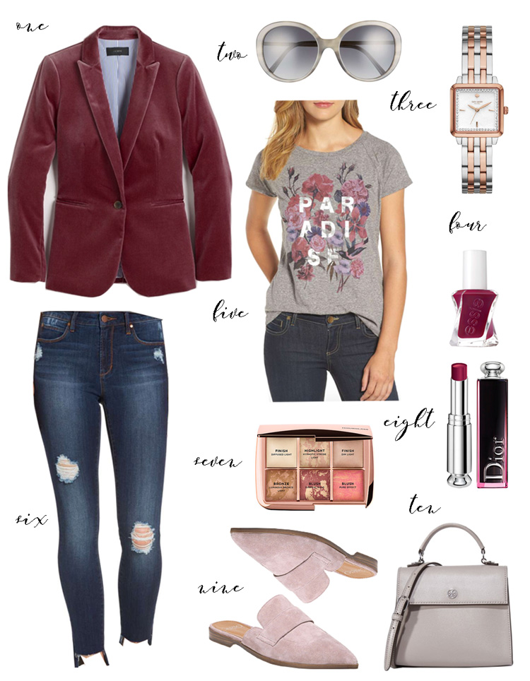 velvet blazer with graphic tee and blush mules