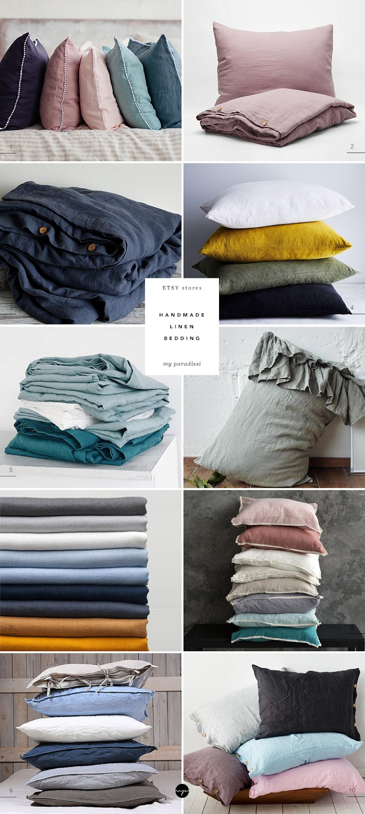 ON MY RADAR: Etsy stores with handmade linen bedding. Natural linens for bedroom, ETSY stores with natural linen bedding, handmade linen bedding, flax bedding, modern home linens, linen home textiles, quality linen for the bedroom