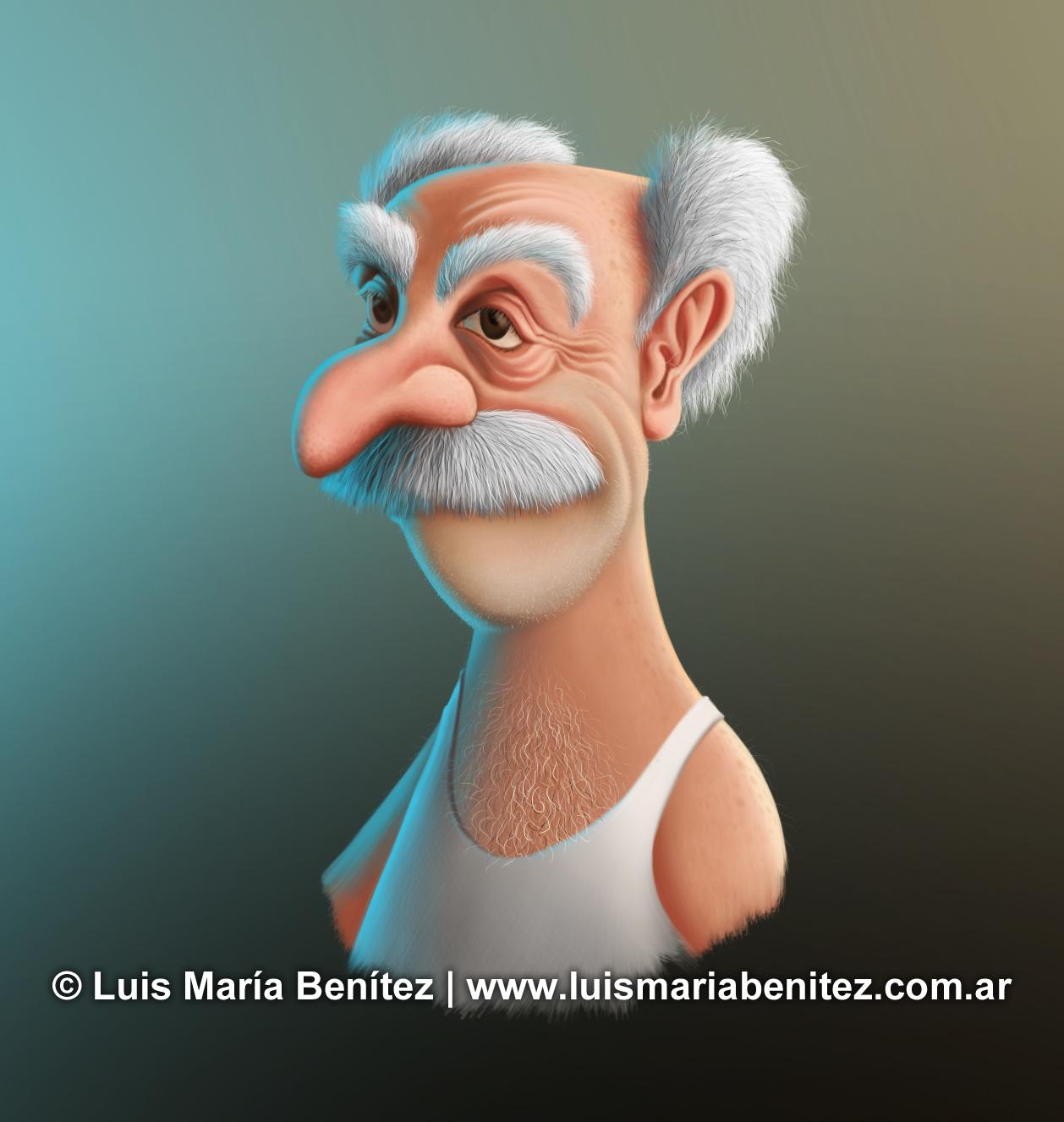 Old man illustration / Ilustración de un viejo © Luis María Benítez
