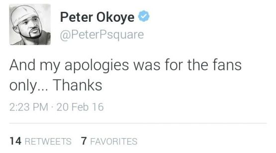 Rudeboy : (@peterPsquare) Says he only Apologised to his Fans