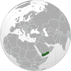 Map showing the location of Yemen on a globe