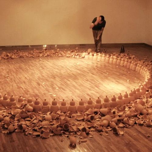 Tinuku.com Albert Yonathan Setyawan present terracotta pottery works Cosmic Labyrinth the Bells in SongEun ArtSpace