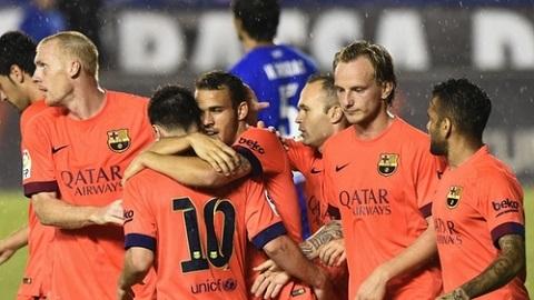 Các cầu thủ Barca luôn thể hiện tình đoàn kết trong trận đấu này