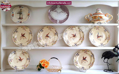 very rare French antique Pottery Clery Longchamp plates 1st edition