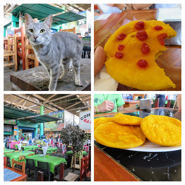 Collage of a cat and sopapillas with hot sauce at Mercado La Vega in Santiago Chile