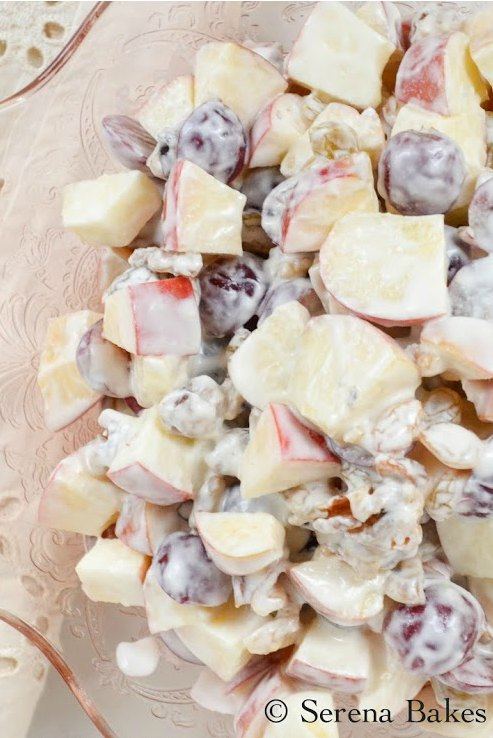 Lightened Waldorf Salad recipe is the perfect side dish for Easter, 4th of July, and summer time picnics.
