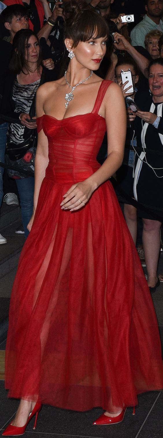 Bella Hadid in Dior Red Dress - Image 3