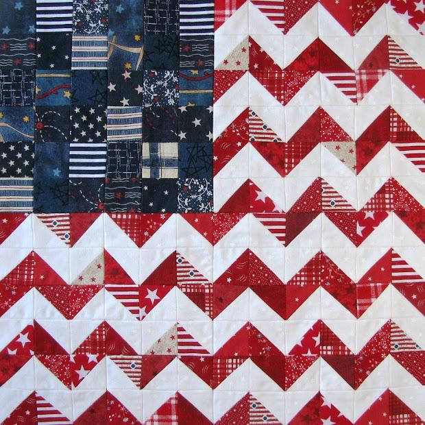 Sew And Zig-zag Flag Patriotic Quilt