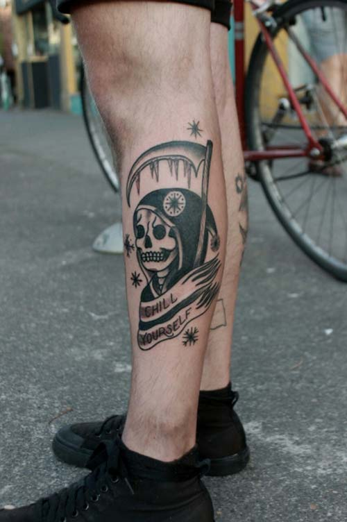 grim reaper tattoos on leg azrail dövmeleri