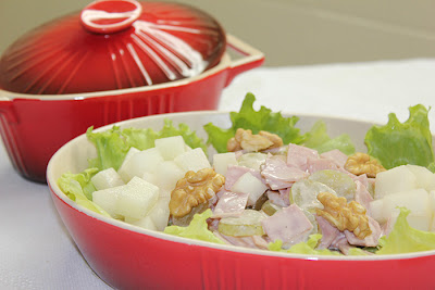 receita de salada de presunto com melão e nozes