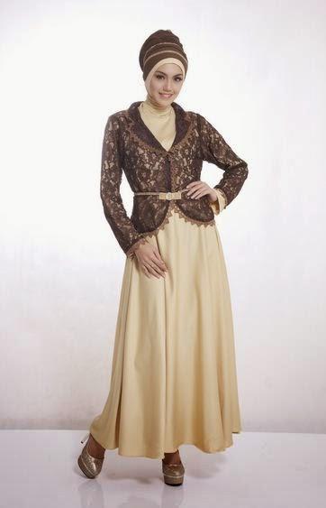 Contoh model baju muslim untuk pesta warna coklat elegan