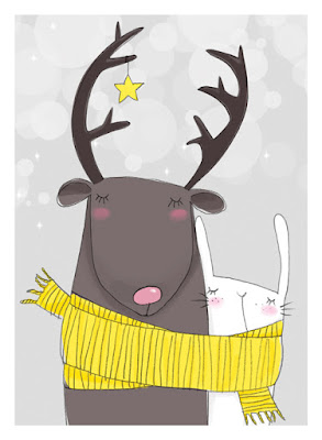 reindeer and rabbit illustration