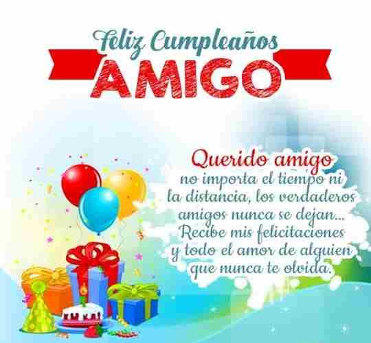 Para un amigo especial mi sincera felicitacion de cumpleaños