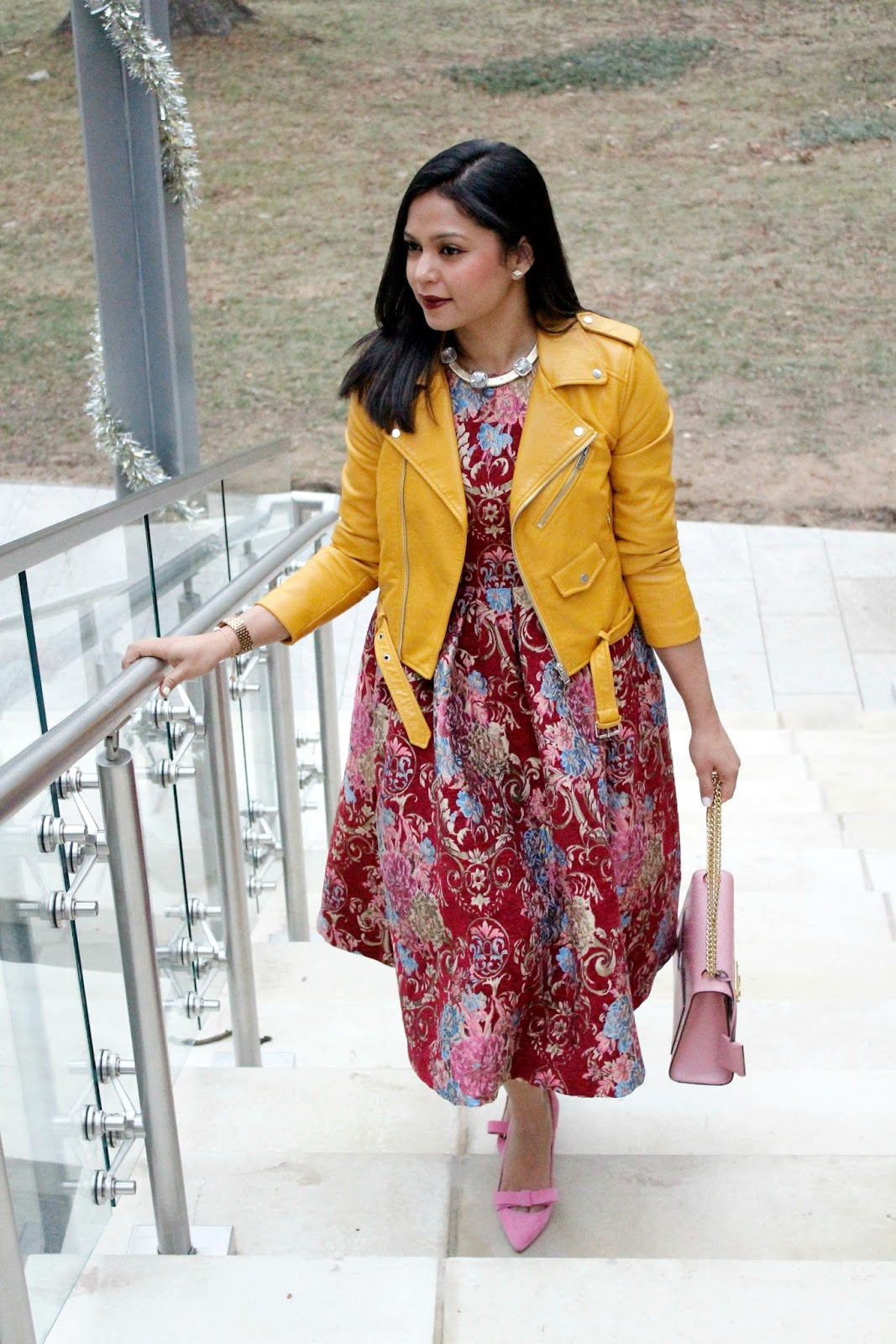 zara leather jacket, pink bow pumps, dressy style, vintage dress, gucci pink bag