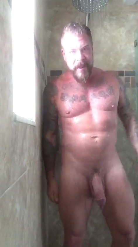 Beefy Daddy With Big Fat Cock Taking A Shower