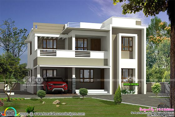 1750 square feet contemporary style flat roof home plan