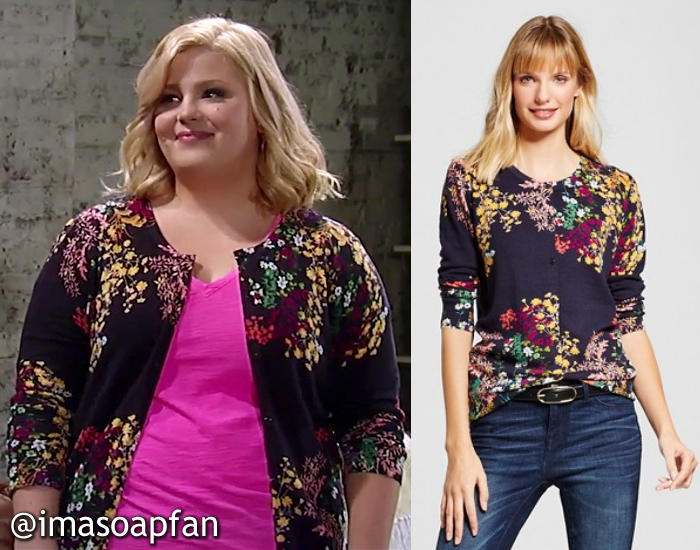 Amy Driscoll, Risa Dorken, Navy Blue Cardigan with Multicolor Floral Print, Merona, GH, General Hospital