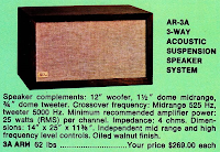 Acoustic Research Ar-3a specs speaker AR3a ad