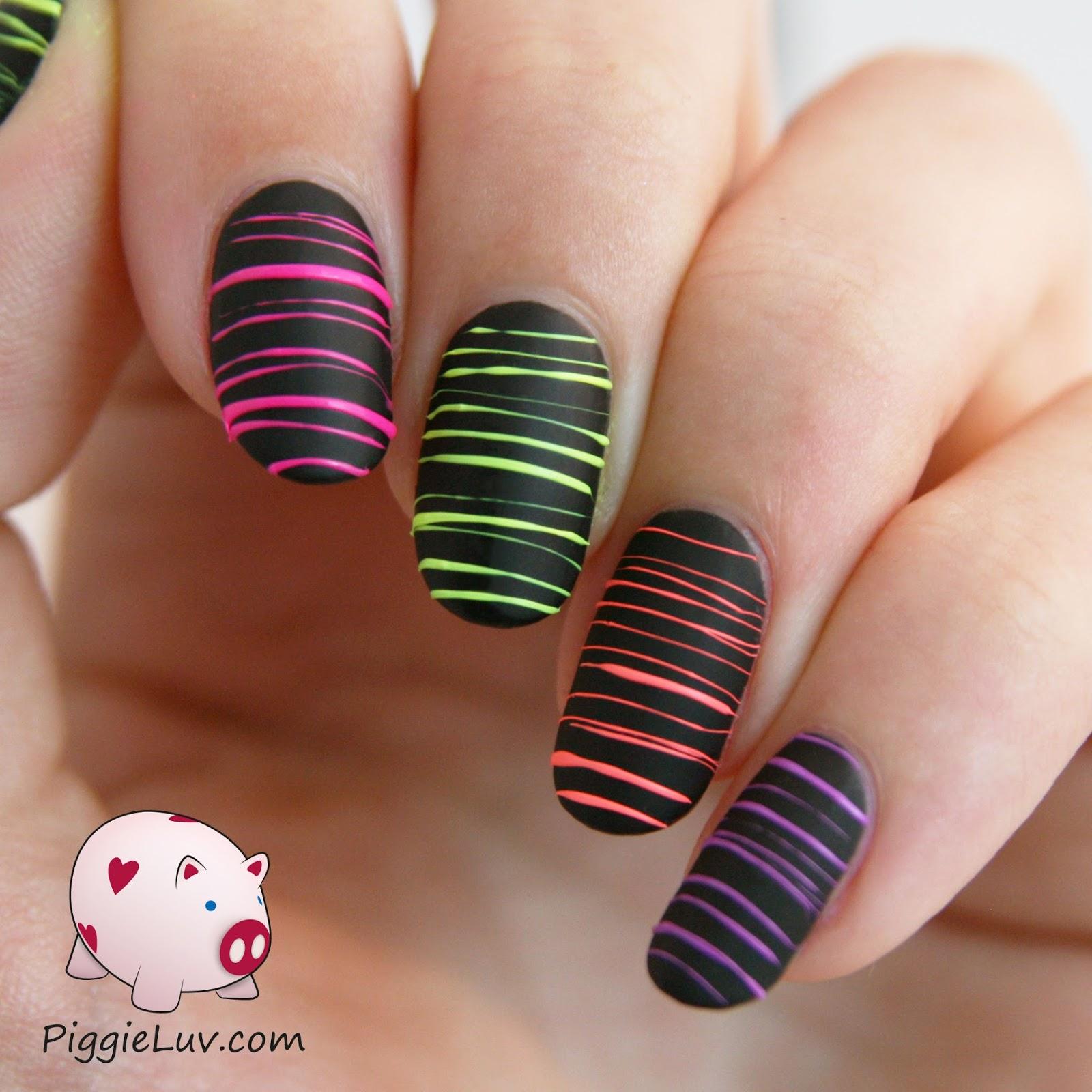 Piggieluv Rainbow Bubbles Nail Art: PiggieLuv: Video Tutorial: Neon Sugar Spun Nail Art