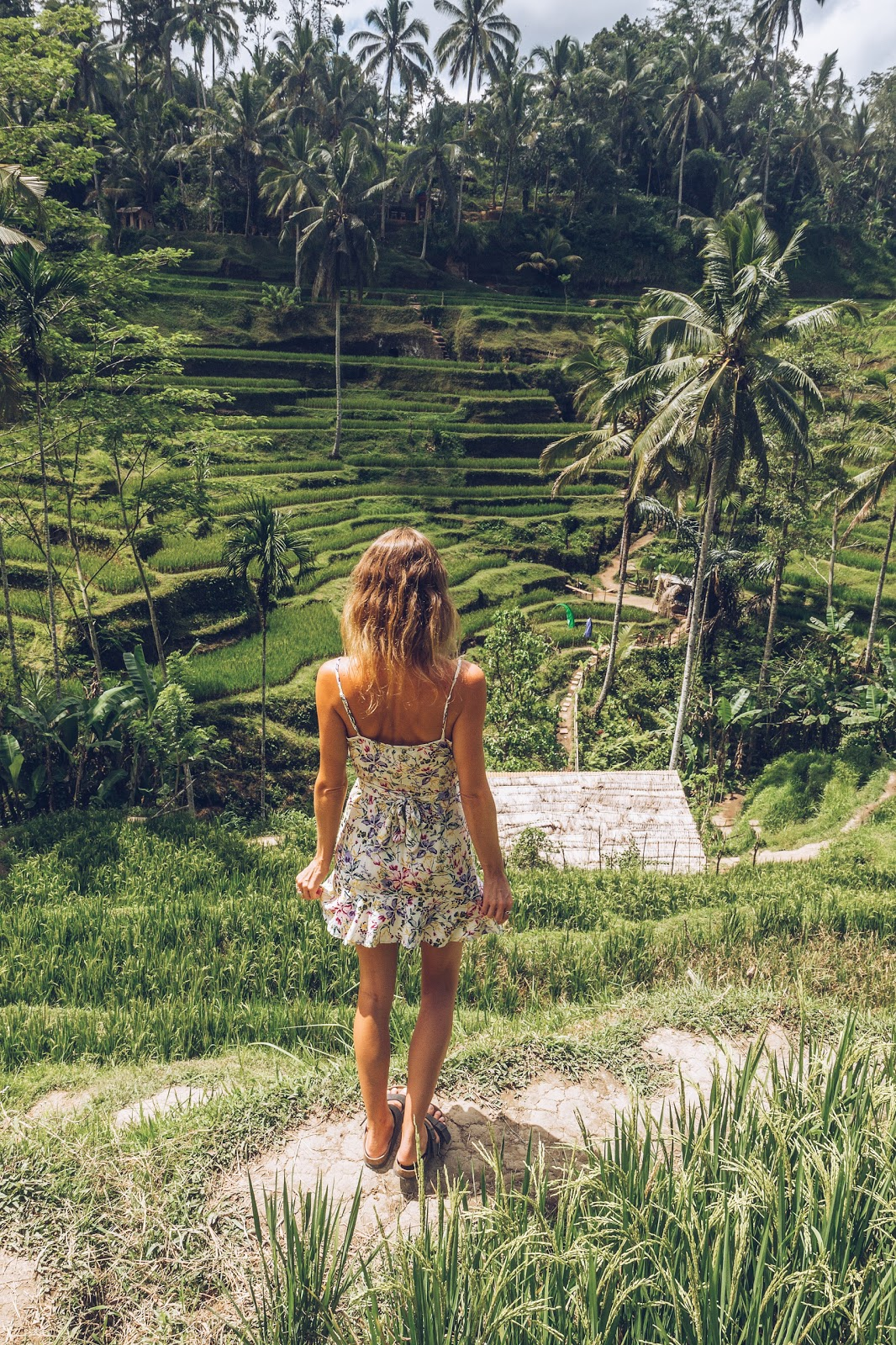 Fashion and travel blogger, Alison Hutchinson, at the rice terraces in Ubud, Bali