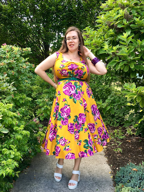 Lady V London mustard and purple rose Jasmine dress