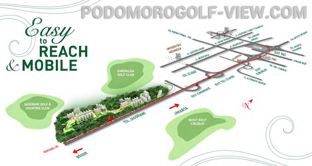 Podomoro Golf View Map Location in Depok