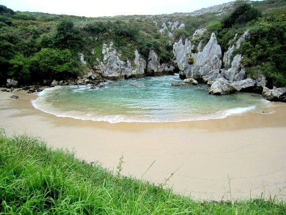 Playa de Gulpiyuri, Sandy Beach in Middle of a Meadow in Spain