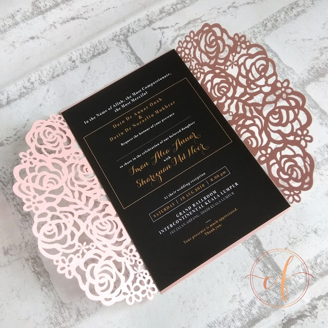 Rose Laser Cut Wedding Card in Pink, Gold & Black