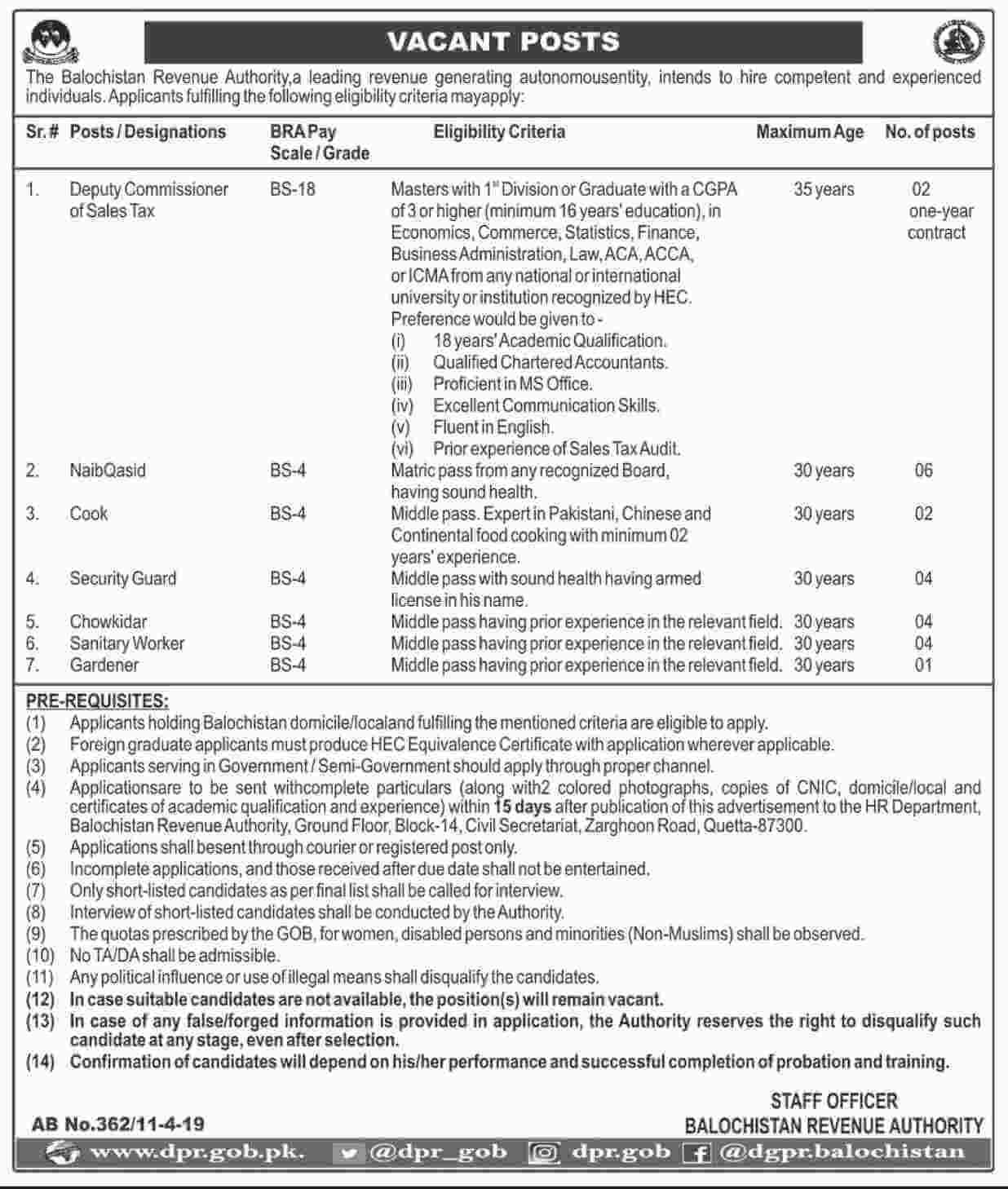 Jobs in Balochistan Revenue Authority