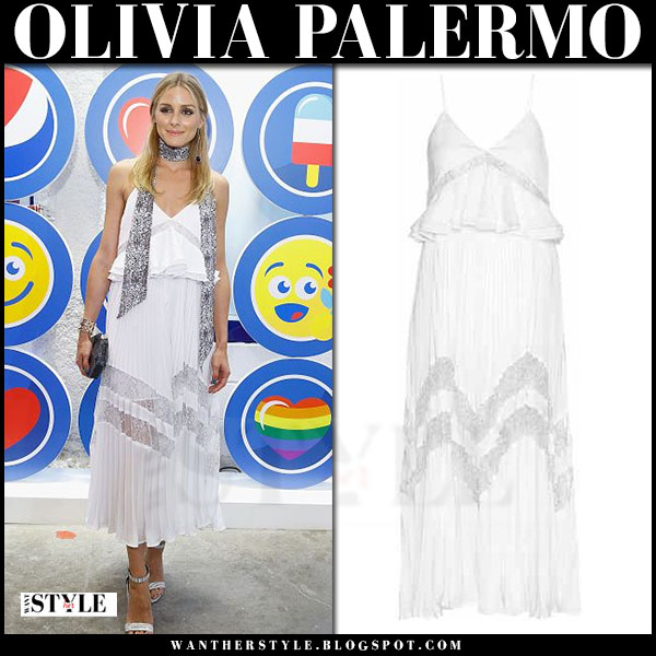 Olivia Palermo in white pleated lace maxi dress self portrait amelia what she wore