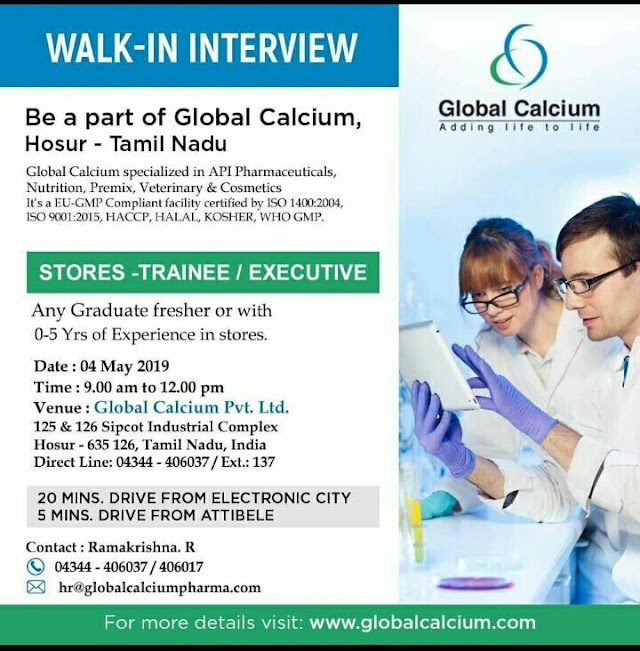 Walk-in interview  Global calcium on 4th may 2019