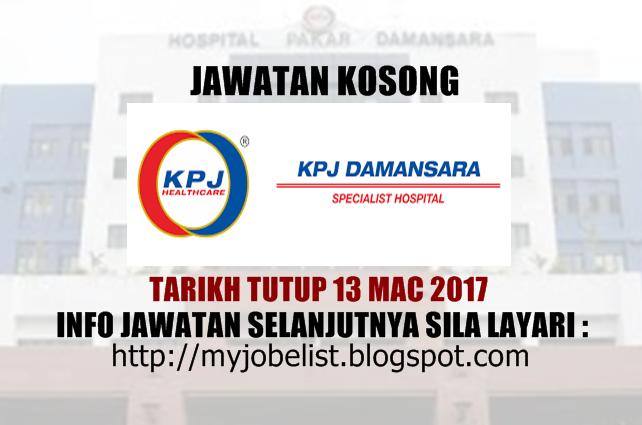 Jawatan Kosong Terkini di KPJ Damansara Mac 2017