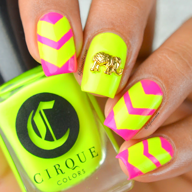 Chevron neon nails