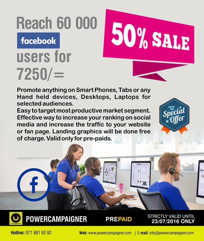 Promote anything on Smart Phones, Tabs or any Hand held devices, Desktops, Laptops for selected audiences. Easy to target most productive market segment. Effective way to increase your ranking on social media and increase the traffic to your website or fan page. Landing graphics will be done free of charge. Valid only for pre-paids.