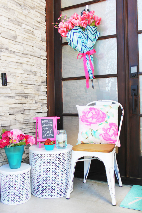 Pink and Aqua Spring Porch Decor
