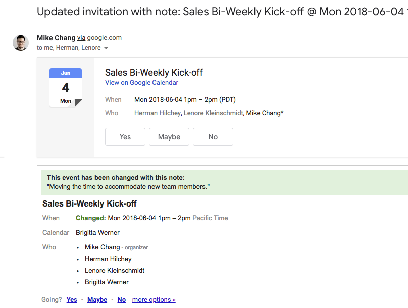 Include a message when changing meeting details in Google Calendar