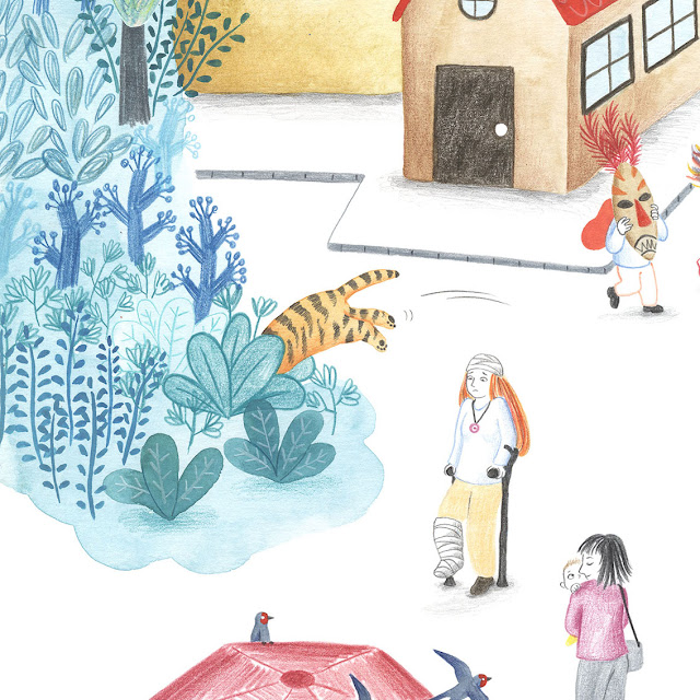 Ilustración, plantas, tigre saltando, muletas, casas, dibujo
