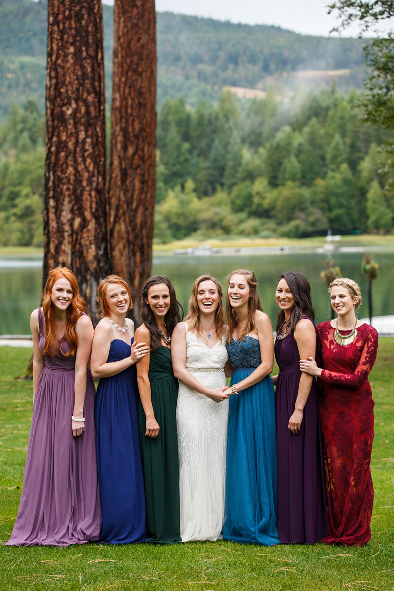 Jewel Toned Bridesmaids Dresses /Photography: Brooke Peterson Photography / Wedding Coordinator: Courtney of 114-West / Venue: Kootenai Lodge / Bride's Bouquet: Mum's Flowers / Bride's Gown: J.Crew / Groom's Tux: J.Crew / Makeup Artist: Britlee of Envy Salon & Spa /